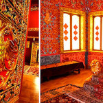Opening the door to the Throne Room, you can see the surprisingly simple scarlet throne chair of Tsar Alexey Mikhailovich