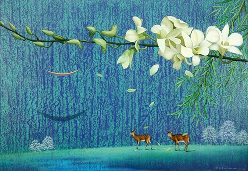 Zebras and flowers by Hwang Seong Je