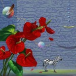 Red cala flowers and Zebra. Painting by contemporary Korean artist Hwang Seong Je