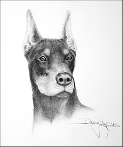 A dog. Mouth painting by American artist Doug Landis