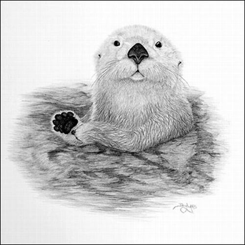 An Otter. Mouth painting by American artist Doug Landis