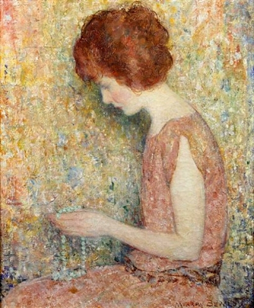 A young woman with beads. Painting by Murray Percival Bewley (1884 – 1956), American artist