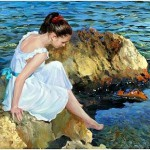 On the seashore. Realistic painting by Russian painter Vladimir Volegov