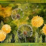 Dandelions. Painting on silk (batik) by Russian artist Maria Kaminskaya