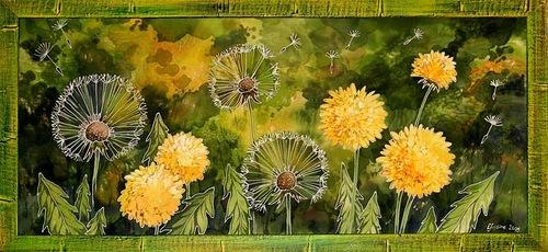 Dandelions. Painting on silk (batik) by Russian artist Maria Kaminskaya