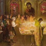 In the church. Painting depicting the holiday - willow Sunday