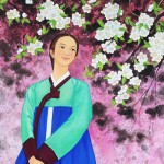 Artists painting Sakura blossoming