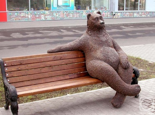 A bear sitting on a bench
