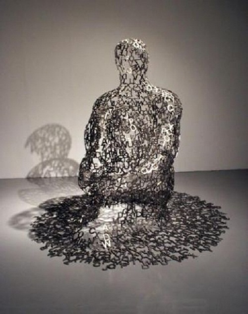 Sculpture made of letters by Spanish artist Jaume Plensa