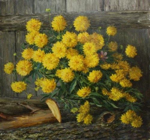 Bouquet of asters. Still life painting by Russian artist Sergey Neustroev (1927 - 2011)