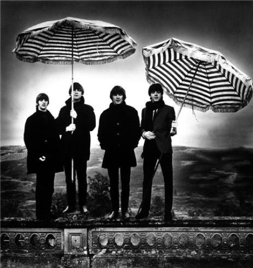 Striped umbrellas. The Beatles
