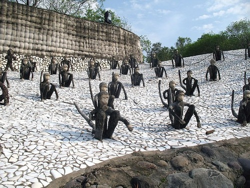 Monkey sculptures in The Rock Garden of Chandigarh in India