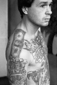 This convict's tattoos were applied in the camps of the Urals where the tattoo artists produce work of exceptional quality.