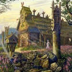 Wooden architecture of Vedic Rus in painting by Russian artist Vsevolod Ivanov