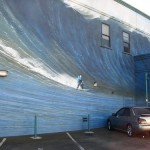Wonder wave mural in Honolulu. Fire crews rushed to save the children from the mighty wave – before realizing it was an optical illusion