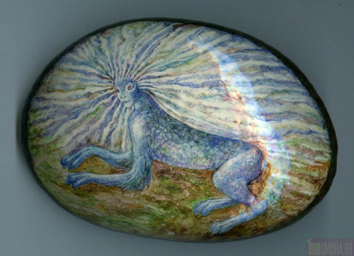 Stone painting by Italian artist Ernestina Gallina