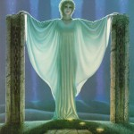 A lady in white. Painting by American fantasy artist Michael Whelan