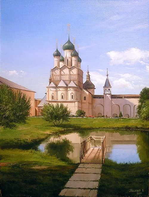 A pond at the white-stone church. Realistic painting by Russian artist Vyacheslav Palachev