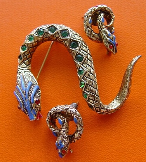 Snake earrings and pin