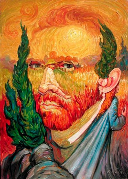 Hidden images in Oleg Shuplyak's paintings. Recreation of Vincent van Gogh's Self-portrait by Oleg Shuplyak