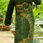 Dress Made from one million meters of human hair, previously dyed and sewn into the dress