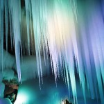 Colorfully illuminated ice cave in Ningwu County of Xinzhou City, Shanxi Province, China