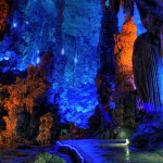 Navy blue cave Reed flute in Guilin, Guangxi, China