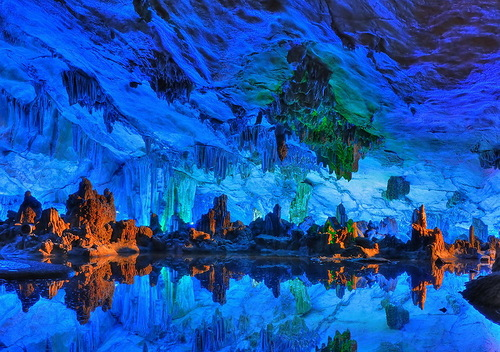 Beautiful Reed flute cave in Guilin, Guangxi, China
