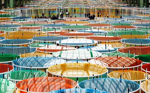 Colorful installation by French conceptual artist Daniel Buren