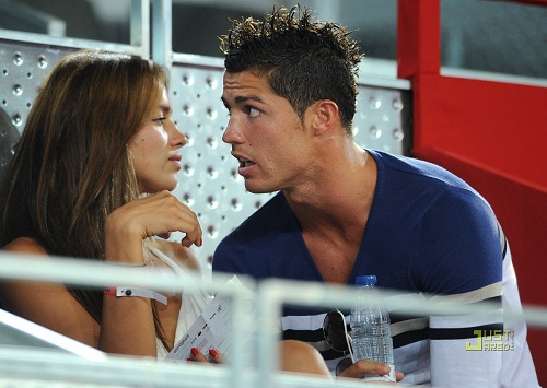Beautiful couple Ronaldo and Irina Shayk. during a friendly basketball game between Spain and the USA at La Caja Magica on August 22, 2010 in Madrid, Spain