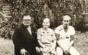 With grandfather and grandmother in the village