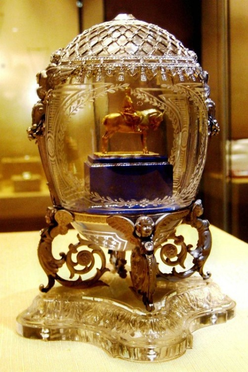 Carl Faberge masterpieces. An egg with a model of the monument to Alexander III (pedestal and holder)