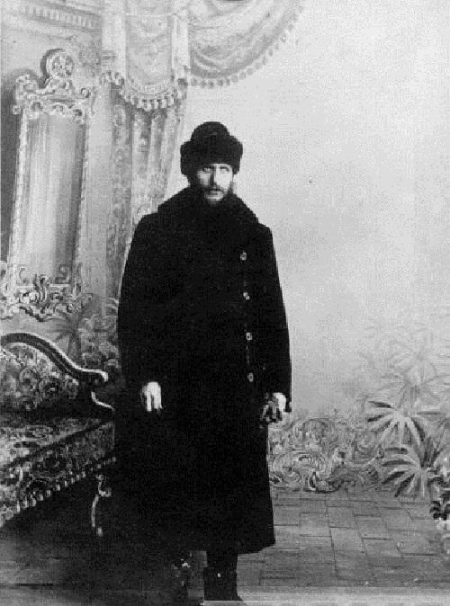 Rasputin in winter clothes