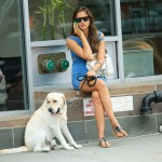 Shayk and her pet dog Caesare
