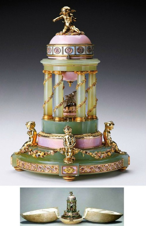 Carl Faberge masterpieces. 'An egg with a colonnade' made in 1905