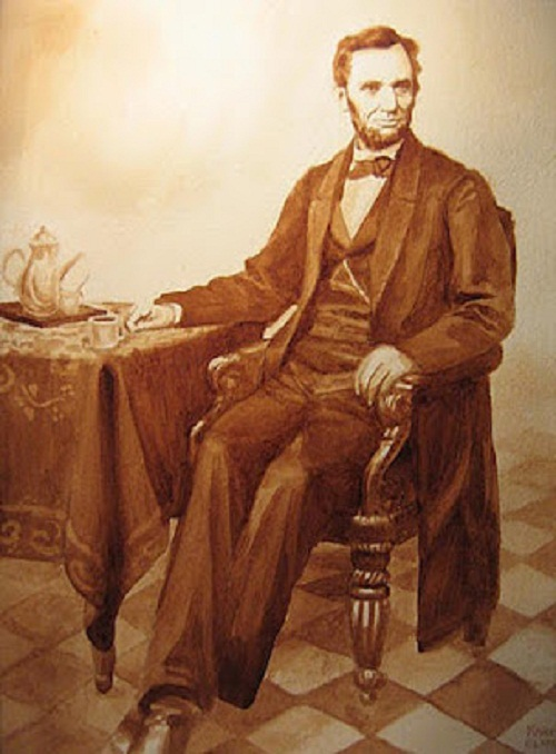 Abraham Lincoln - commission. Coffee Creations by Karen Eland