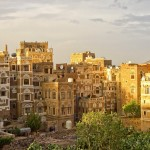 Lit with the sun the ancient city of Al Hajjara in Yemen