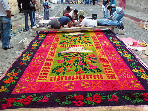 Colorful Street Carpets made for Holy Week in Antigua Guatemala