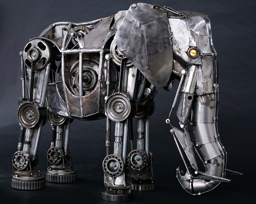 Huge elephant. Steampunk sculpture by American sculptor Andrew Chase