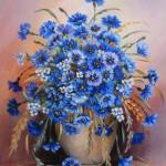 Cornflower in painting, artist Barbara Siewierska