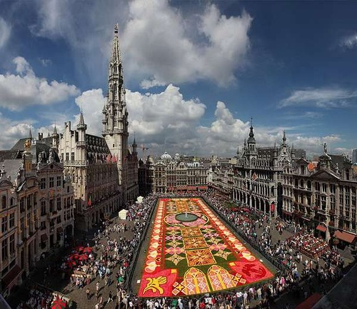 Beautiful Flower carpet in front of Grand-Place, Brussels, Belgium