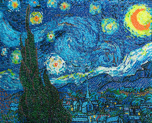 Beautiful mosaics by American jelly bean artist Kristen Cummings