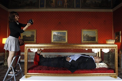 Berlusconi in a glass coffin