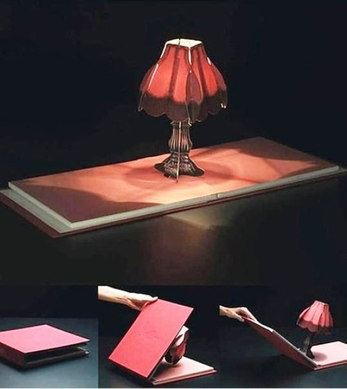 Book of Lights, origami pop-up lamp hidden in the pages of an oversized coffee-table book – plug it in an it will actually light up
