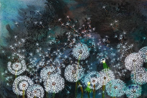 Dandelion. Painting by Korean artist Bak Eun-ra