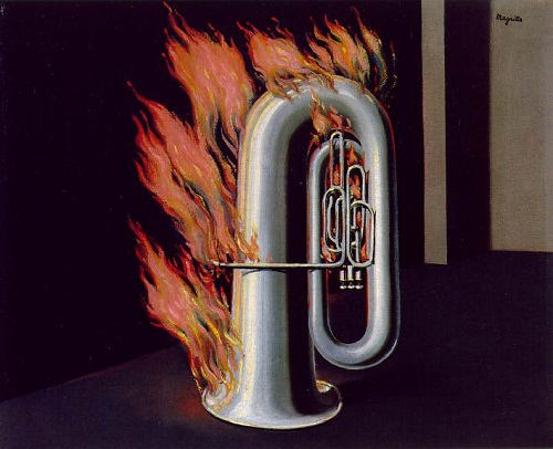 Discovery of fire. paintings by Rene Magritte