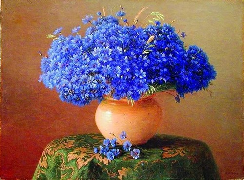 Cornflower in painting, artist Gavriil Kondratenko