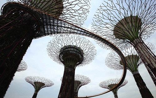 Giant concrete supertrees - man-made structures of an artificial woodland in Singapore