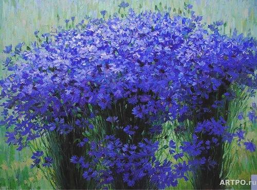 Cornflower in painting, artist Helen Kishkurno