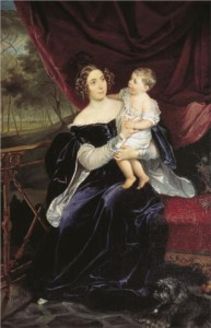 Olga Ivanovna Orlova-Davydova and her daughter Natalia. 1834